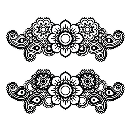 retro design: Mehndi, Indian Henna tattoo pattern or background Illustration