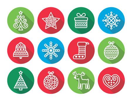 xmas tree: Christmas flat icons icons - Xmas tree, present, reindeer