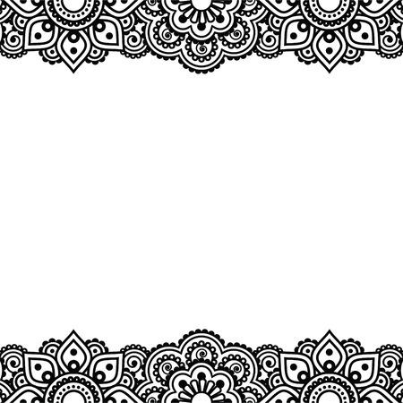 tatouage: Mehndi, henné indien tatouage conception - carte de voeux, ornement en dentelle