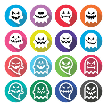 october 31: Halloween scary ghost, spirit flat design icons set Illustration