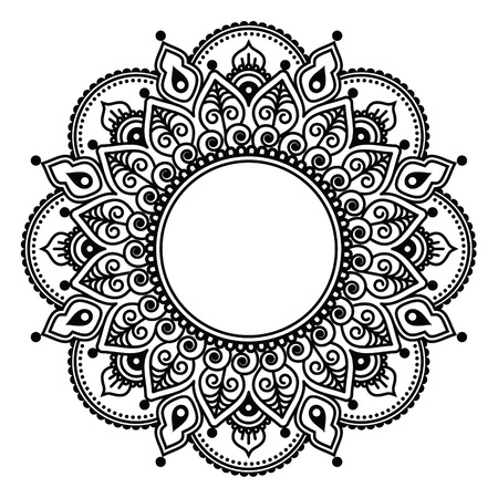 Mehndi lace, Indian Henna tattoo round design or pattern Vector