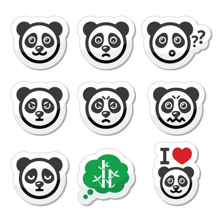 happy sad: Icone Panda bear set - felice, triste, arrabbiato isolato su bianco