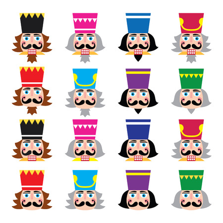 Christmas nutcracker - soldier figurine head icons set Illustration