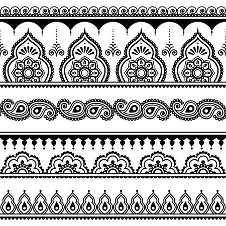 一時的な刺青、インドのヘナ タトゥー デザイン要素のシームレスなパターン