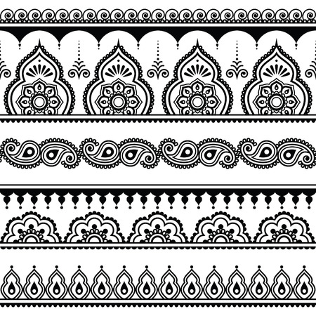 Mehndi, Indian Henna tattoo seamless pattern, design elements Çizim