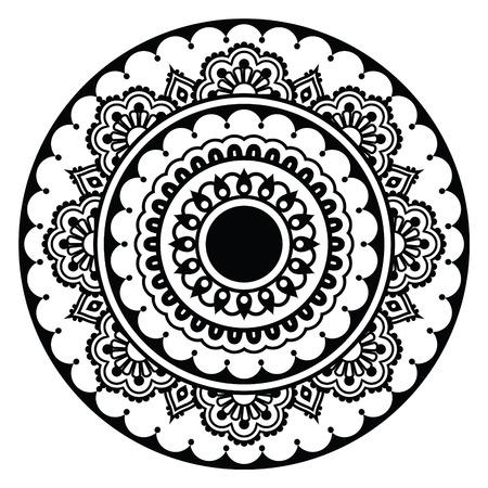 Mehndi, Indian Henna floral tattoo round pattern Vector