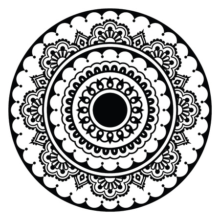 Mehndi, Indian Henna floral tattoo round pattern