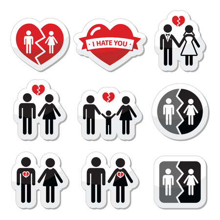 relationship breakup: Couple breakup, divorce, broken family vector icons set Illustration