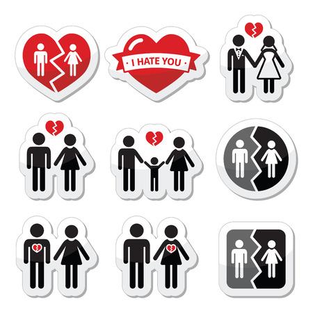 divorcio: Pareja ruptura, divorcio, iconos vectoriales familiares rotos establecidos