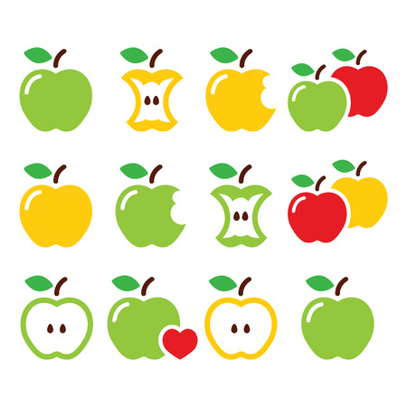 yellow apple: Green and yellow apple, apple core, bitten, half vector icons
