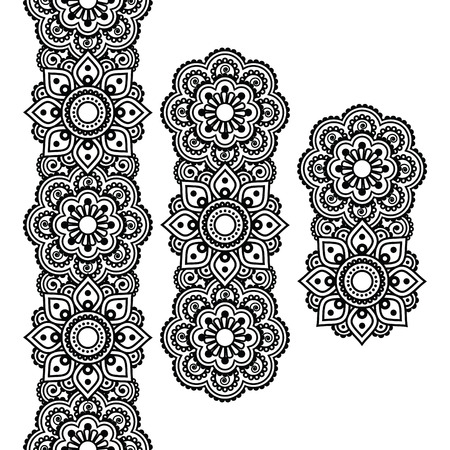 bordados: Mehndi, india patrón largo de henna tatuaje, elementos de diseño Vectores