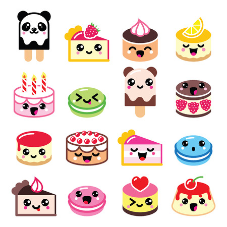kawaii: Cute Kawaii dessert - cake, macaroon, ice-cream icons