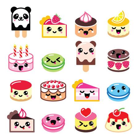 Leuke Kawaii dessert - taart, bitterkoekjes, ijs iconen
