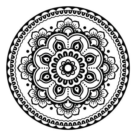 Indian, Mehndi Henna floral tattoo round pattern 일러스트