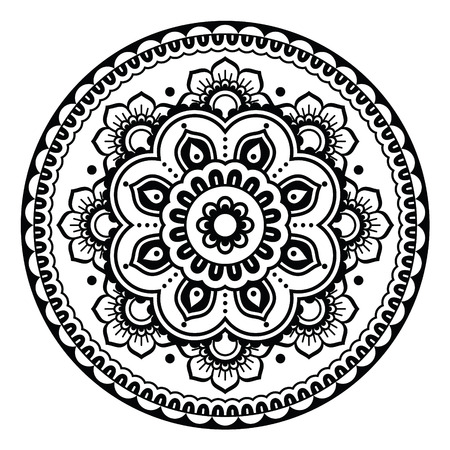 Indian, Mehndi Henna floral tattoo round pattern Illustration