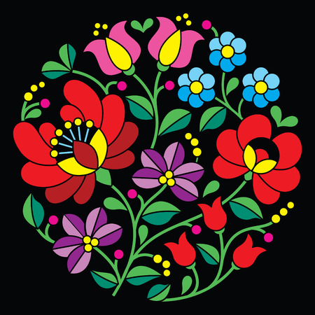 hungarian: Kalocsai embroidery - Hungarian round floral folk pattern on black Illustration