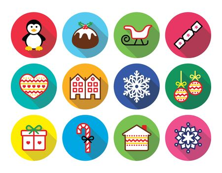 Christmas, winter flat design icons - penguin, Christmas pudding Vector