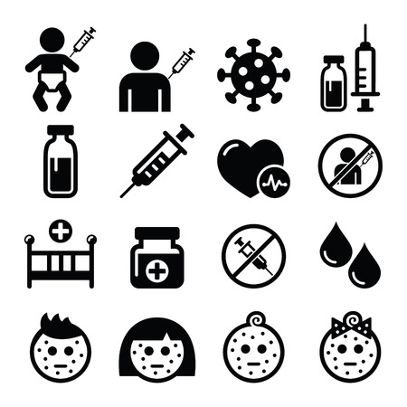 syringe injection: Childhood vaccinations, chicken pox icon set