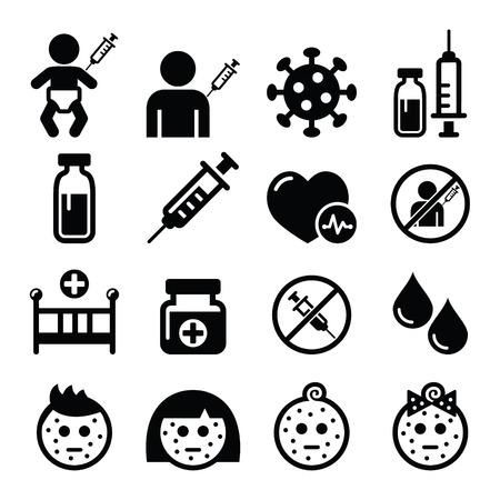 ragazza malata: Vaccinazioni infantili, icona varicella set Vettoriali