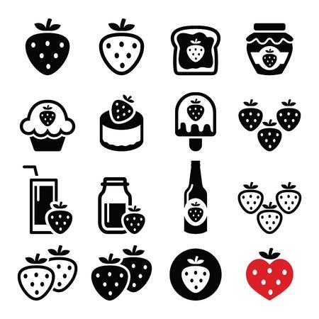 rebanada de pastel: Fresa, comidas - alimentos y bebidas iconos conjunto Vectores