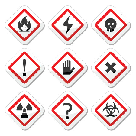 electricity danger of death: Danger, warning, attention square icons set Illustration