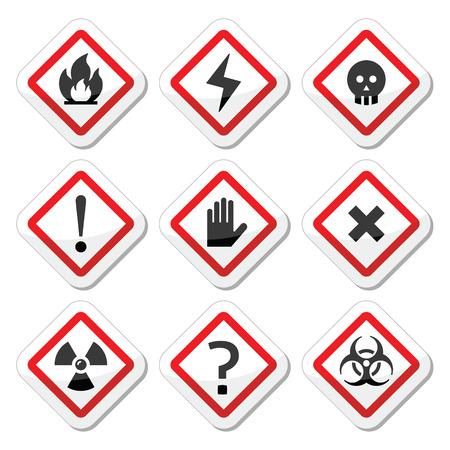 riesgo biologico: Peligro, advertencia, establece iconos cuadrados de atención