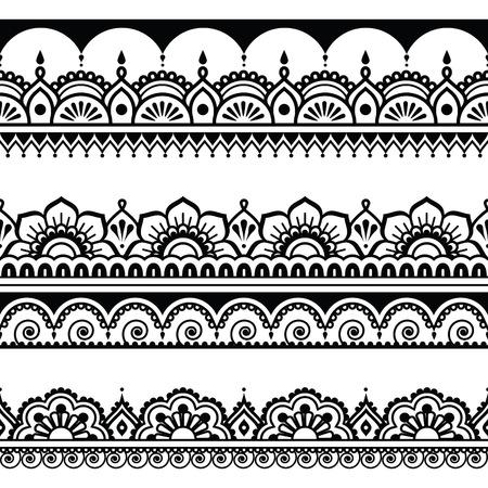 インドのシームレスなパターン、デザイン要素 - 一時的な刺青タトゥー スタイル