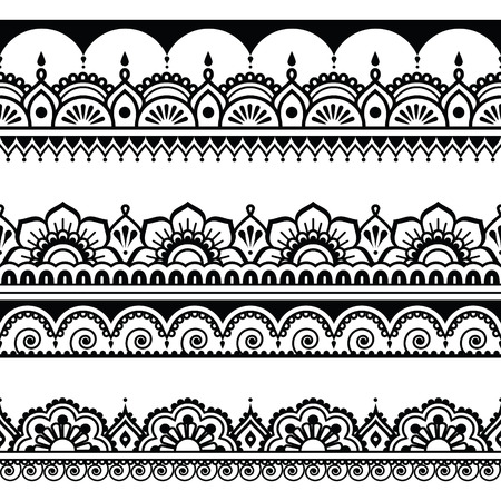 Indian seamless pattern, design elements - Mehndi tattoo style Vector