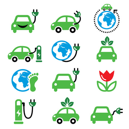 drive around the world: Electric car, green or eco transport icons set