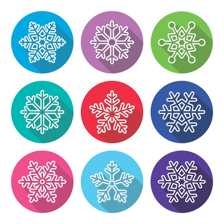 long shadow: Snowflakes, winter flat design, long shadow icons set