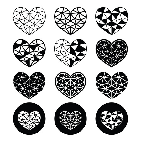 Geometric heart for Valentines Day - love, relationship concept Vector