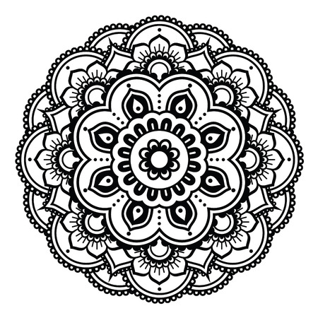 mandala flower: Indian Henna tattoo pattern or background - Mehndi design Illustration