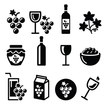 red wine pouring: Grapes, wine - food and beverages icons set