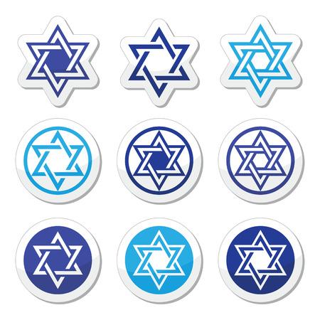 etoile juive: Juif, �toile de David Icons Set isol� sur blanc