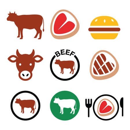 carne de res: Carne de res, vector vaca conjunto de iconos Vectores