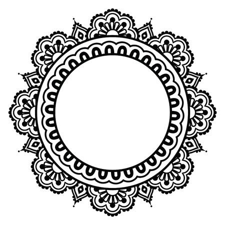 circulo de personas: India de la alheña tatuaje floral patrón ronda - Mehndi Vectores