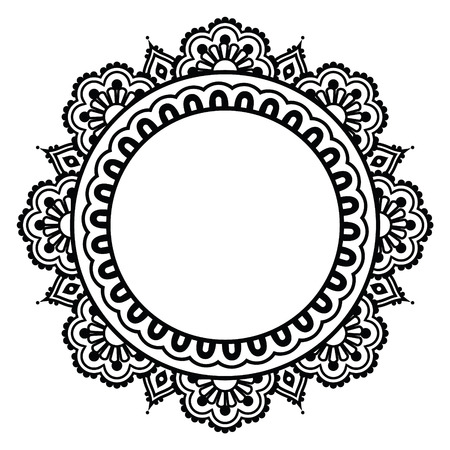 mehndi: Indian Henna floral tattoo round pattern - Mehndi