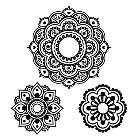 인도 헤나 문신 라운드 디자인 - 멘디 패턴