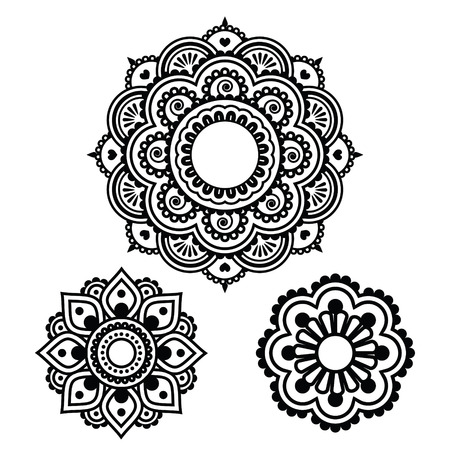 Indian Henna tattoo round design - Mehndi pattern
