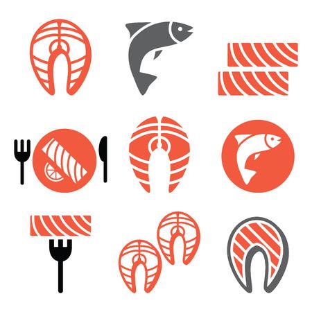 fishy: Salmon fish and meal - food icons set Illustration