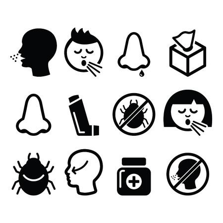 Raffreddore, influenza icone - infezione nasale, allergia, disegno naso