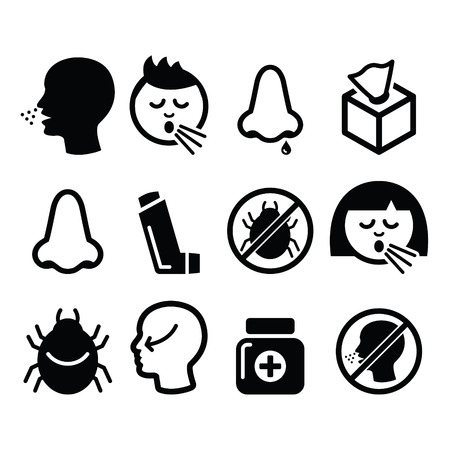 raffreddore: Raffreddore, influenza icone - infezione nasale, allergia, disegno naso Vettoriali