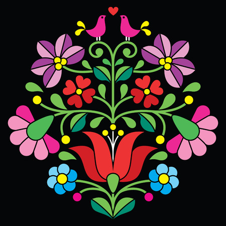 Kalocsai embroidery - Hungarian floral folk pattern on black Çizim