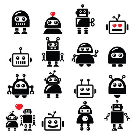 Robot de mâle et femelle, icônes AI Intelligence Artificielle réglé
