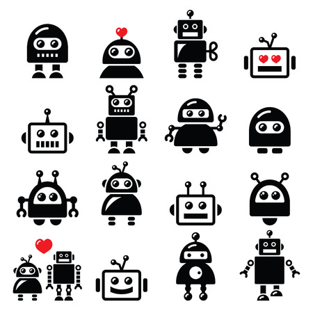 Robot masculino y femenino, ajustado iconos Inteligencia Artificial AI