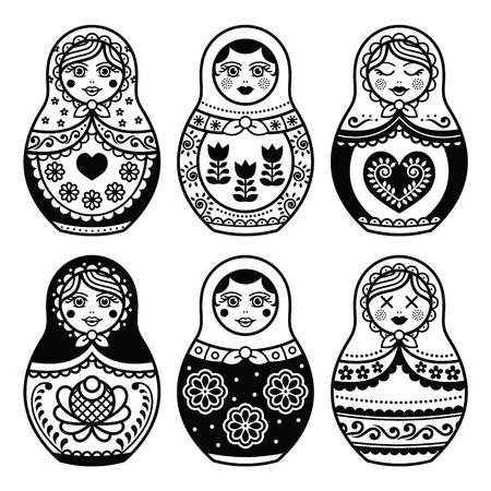 マトリョーシカ、ロシアの人形のアイコンを設定します。  イラスト・ベクター素材