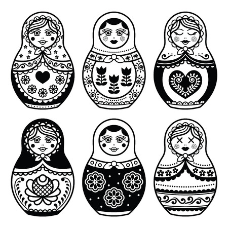 russian girl: Matryoshka, Russian doll icons set