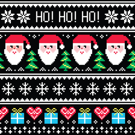 Christmas jumper or sweater seamless pattern with Santa and presents Ilustração