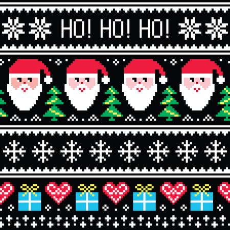 white christmas: Kerstmis jumper of trui naadloze patroon met Kerstman en cadeautjes Stock Illustratie