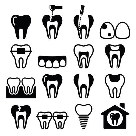 root canal: Tooth , teeth, dental clinic vector icons set
